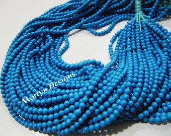 Pack of 5 Strands 13-14inch Long, Smooth Turquoise Round Beads , 2mm Size Synthetic Turquoise Beads, Dark Blue Color Beads, Rare Size beads
