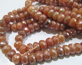 AAA Quality Natural Peach Silverite Rondelle Faceted Beads , Mystic Coated 8-9mm Silverite Gemstone Beads , Strand 8 inches , Jewelry Beads.