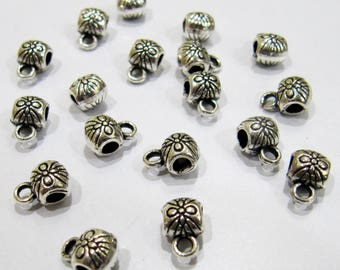 Set of 6 Pieces- Antique Silver Oxidize Designer Handmade Metal Bails , 6x9mm Silver Spacer Handcarved Bails , Wholesale Price.