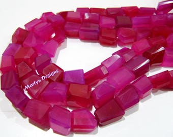 Beautiful Hot Pink Chalcedony Nagget Shape Beads , Laser Cut Onyx Beads 10 to 12mm , Strand 10 inches long , Semi Precious Gemstone Beads.