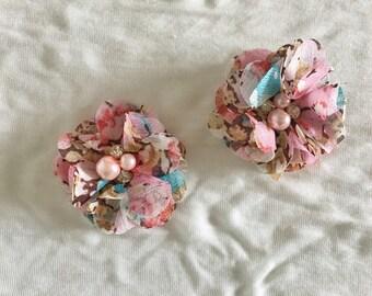 Pink blush bohemian Floral Baby Girl Hair Clips, flower hair clips, baby hair clips, floral, hair clips, flower, pink blush floral