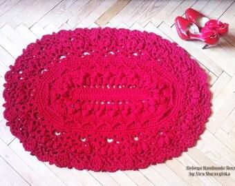 Crochet textured rug oval, 3D area rug Baby rug, floor lace living room mat. Wedding birthday gift
