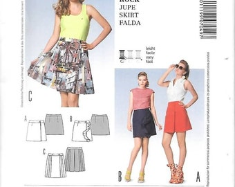 Misses Wrap Around Skirts, Short and Sassy, Sizes 6 Thru 18, New Burda Young Pattern 7049