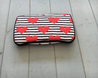 Hearts on Stripes, Wipe Case, Wipes Case, Baby Wipe Case, Wipes Holder, Baby Wipes Case, Travel Wipe Case, Diaper Bag, Baby Gift, Babyshowe
