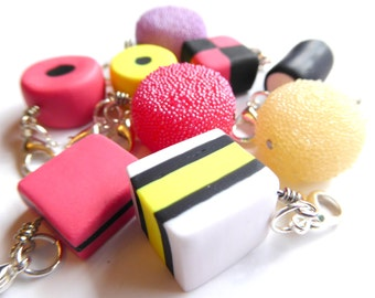 Set of 9 Licorice Allsorts Charms, Allsorts Jewelry, Polymer Clay Charms, Food Stitch Markers, Allsorts Wine Charms, Clay Candy Charms