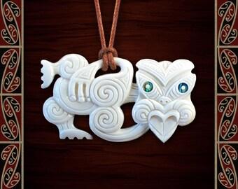 New Zealand Maori Bone Hei Tiki - Maori Bone Pendant - Bone Necklace - Tribal Pendant - Bone Carving