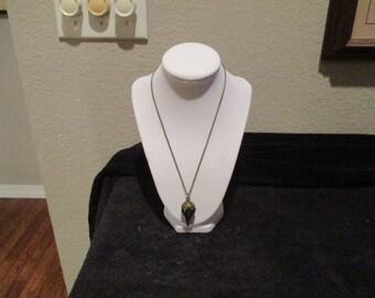 Brass Black Death Plague Mask Pendant on Brass Chain Necklace
