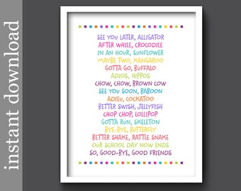 Nursery Rhyme, Nursery Printable, Later Alligator, nursery wall art, printable wall art, childrens art, colorful print, colorful nursery art