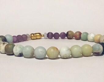 Healing Choker, gemstone choker, amazonite and amethyst, stone necklace, healing jewelry, natural healing stones