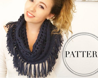 The Melody Fringe Scarf - Infinity Lace Scarf - Crochet Pattern