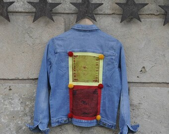 Yellow and Red denim jacket