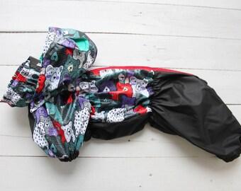 Waterproof Raincoat with Cute Print and Bear Ears - Dachshund - Full Body Suit - Raincoat - Dog Coat - Dog Clothing