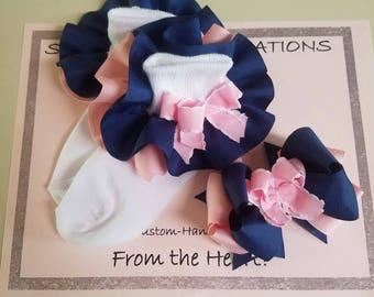 Ruffled Socks, Handmade Ruffled Socks, Socks with Hair Bow