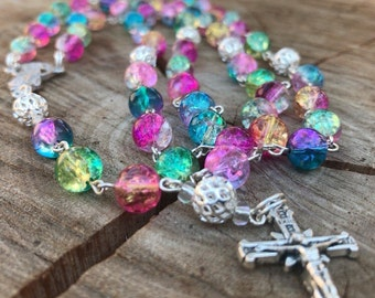 Catholic Rosary - Feminine Catholic Rosary - Rosary Beads - Prayer Beads -Rosary Necklace - Rainbow Rosary - Colorful Rosary - Womans Rosary