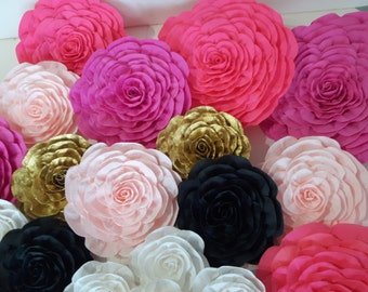 6 large Paper Flowers Giant wall black pink gold bridal kate shower spade baby wedding backdrop party gatsby nursery decor birthday chanel