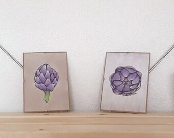 Artichoke Illustration Set, framed - artichoke bulb, purple artichoke, vegetable illustration, framed kitchen wall art set