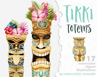 Tiki clipart, tribal clip art, Hawaii Tropical flowers, tikki totem, printable scrapbooking elements, Maori totems, diy luau party invites