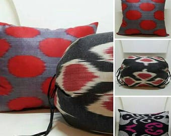 Set of 6 uzbek ikat pillow covers