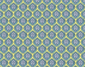 Joy Leaf Fabric Gray Blue Citron by Brother Sister Design Studio, Fabric by the Yard