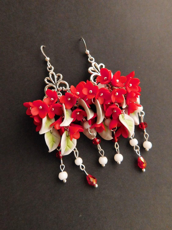 Red Dangle Earrings Gift For Wife Red Flower Jewelry Statement Earrings  Bohemian Earrings Red Floral Earrings