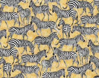 Makower Zebras Fabric from the Safari Range 100% Cotton