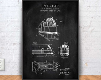 RAIL CAR patent print, rail car poster, rail car blueprint, rail car illustration, street car design, vintage tram art, tram carriage, #1277