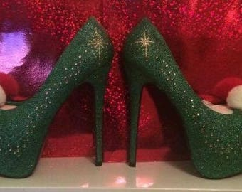 Green Fairy pom-pom heels - Platforms - Themed Bridal Shoes - Bridesmaid - Wedding - Prom - Customised Shoes - Glitter Shoes - UK Size 3-8