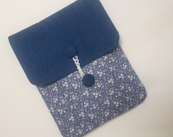 Chambray Denim Notebook Pouch / Ipad cover / Sketchbook Cover