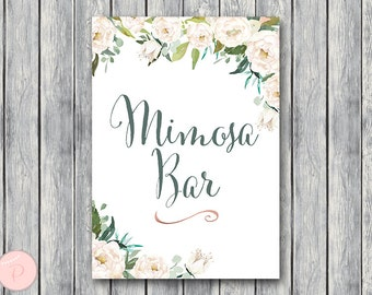 Garden Mimosa Bar Sign, Bubbly Bar Sign, Wedding Bar Sign, Printable Sign, Wedding Decoration Sign, Engagement Party Mimosa TH61 dd