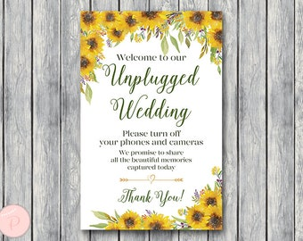 Sunflower Unplugged Wedding Sign, Unplugged Ceremony Sign, Printable Wedding Sign, Printable sign, Wedding decoration sign TH80