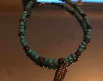 Healing Turquoise Stone Beaded Bracelet with Feather Charm