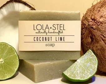 Coconut Lime All Natural Soap, Handmade Soap, Vegan Soap, Cold Process Soap, Coconut Milk Soap, Lime Soap, Moisturizing Soap, Shave Soap