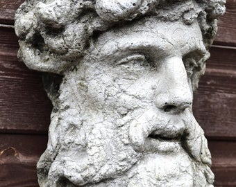 "Hercules Roman classical wall plaque bust fragment stone garden ornament 43cm/17"" High"