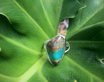 Natural Turquoise Sterling Silver Ring  Size 7.5 | Double Band Turquoise Ring