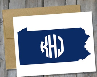Customizable Pennsylvania Monogram Notecard Set of 12 - State Note Card Set - Customized Notecards