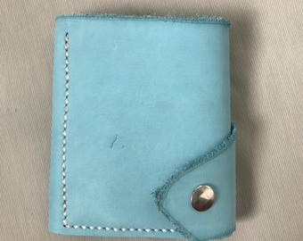 Turquoise blue and purple leather wallet, card holder