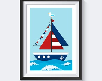 Sail boat type - sailboat - nautical nursery prints - poster children's images - nursery - nursery - images images of children