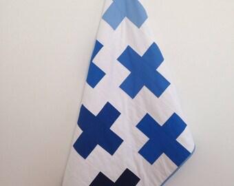 Blue Ombre Swiss Cross Quilt - Plus Quilt - Modern Homemade Quilt - Crib Quilt - Baby Quilt