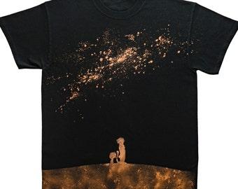Calvin and Hobbes Bleach Shirt (Night Sky) - Crewneck Unisex Short Sleeve T-Shirt