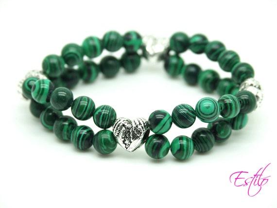 Beautiful Bright Green Malachite Elastic Bracelet 2 in 1, Christmas, Birthday Gift, Gemstone Beaded Bracelet in gift bag, Angel Wings