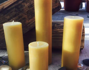 "100%Pure beeswax candle-scented or unscented-pillar candles-beeswax candles-2"" diameter pure beeswax candle-beeswax pillar candle."