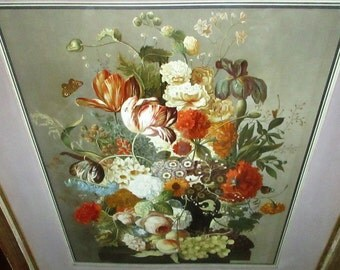 Large Antique Joseph Nigg Hand Colored Engraving Lithograph Floral Study Still Life Flowers Bugs Fruit Gorgeous Bouquet Victorian Botanical