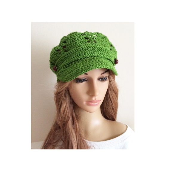 Crochet Newsboy hat Slouchy knit hat Knit newsboy cap