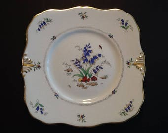 Antique Cake Plate, Tuscan England Plate, Rare Bluebell Design Tuscan China England Hand Painted Vintage Cake Plate 1920's Backstamp