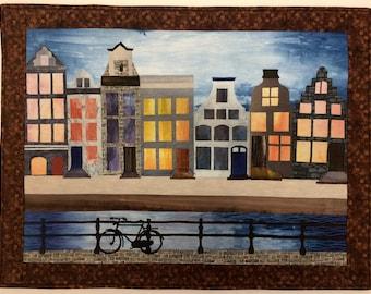 Art Quilt, Original Fiber Art Wall Hanging, Amsterdam Canal Scene, Fabric Art, Hand dyed fabric, Cityscape