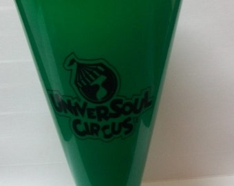 "1990s UniverSoul Circus Green Plastic Megaphone Souvenir From African American Circus 8"" Long"