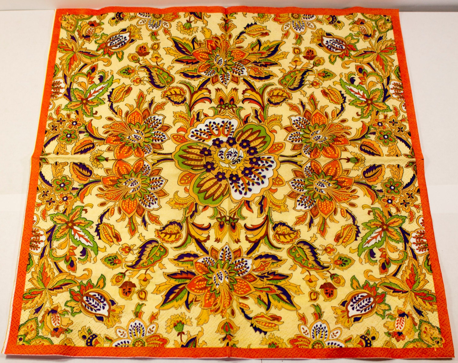 Decoupage Napkin Paper Napkins Floral Flowers Orange Flower