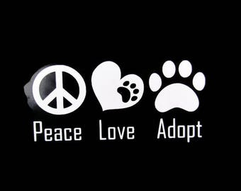 Adopt Window Decal, Rescue Decal, Pet Adoption Sticker, Pet Rescue Decal, Car Window Decal, Vinyl Decal, Dog Rescue, Cat Rescue, Adopt Decal