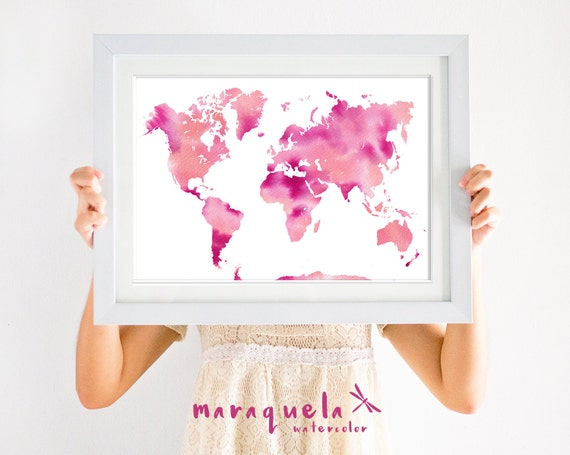 WORLDMAP illustration WATERCOLOR, PINK,violet and orange colors tone map,vivid colours, home decor,living room,modern decoration,carte monde