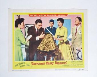 Vintage Lobby Card, Gentlemen Marry Brunettes Movie Lobby Card 1954, Jane Russell, Jeanne Crain, Movie Memorabilia, Movie Paper Ephemera